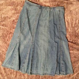 JM Collection Petite Denim Flared Skirt